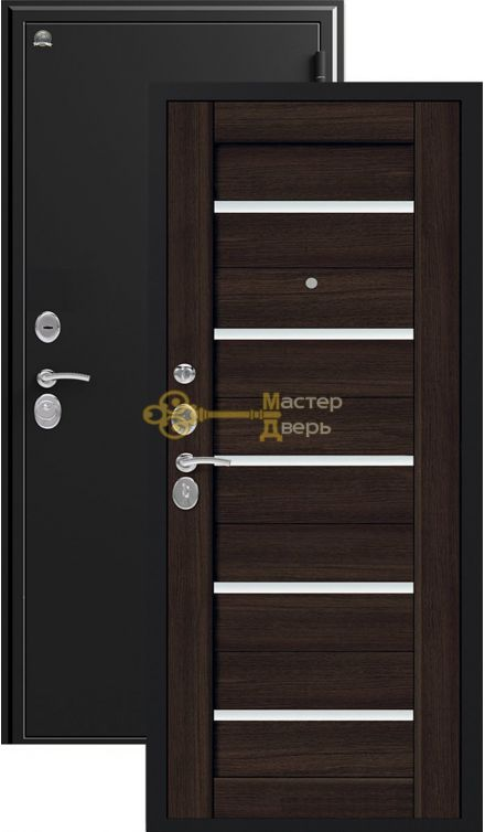 Дверь Сибирь, S-7, 2 замка, 1мм сталь, (чёрный шёлк+венге шоколад)