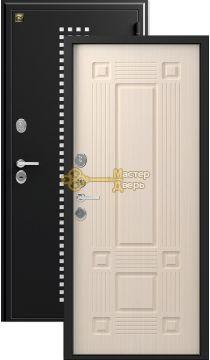 Дверь Зевс, Z-5 италия, 2 замка, 1,5мм сталь, (чёрный шёлк с перфорацией+лиственница светлая)