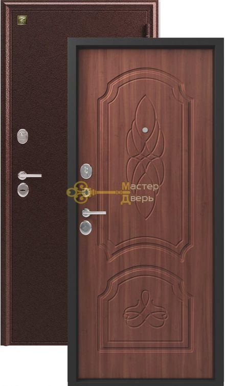 Дверь Зевс, Z-6, 2 замка, 2мм сталь, (медь антик+орех)
