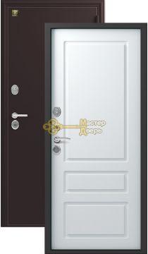 Дверь Зевс, Z-6, 2 замка, 2мм сталь, (чёрный шёлк+софт белый)