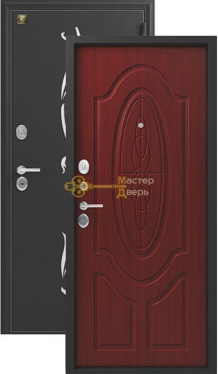 Дверь Зевс, Z-7,2 замка, 2мм сталь, (черный шёлк с перфорацией+махагон)