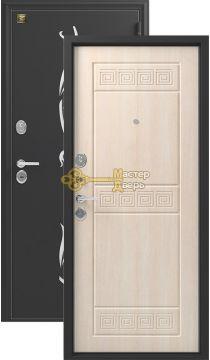 Дверь Зевс, Z-7, 2 замка, 2мм сталь, (чёрный шёлк с перфорацией+седой дуб)