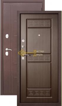 Тёплая дверь Троя 10 см , 2 замка, 1,4 мм металл, медь антик+венге.