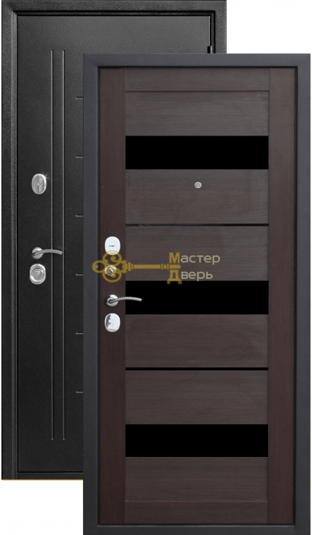 Тёплая дверь Троя 10 см, 2 замка, 1,4 мм металл, серебро антик+кипарис тёмный.
